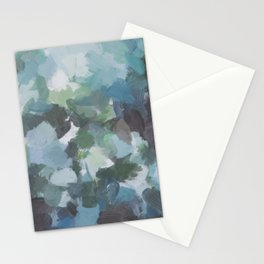 Mint Aqua Navy Indigo Sage Lime Green Abstract Nature Painting, Modern Wall Art Print, Leaves Sky Stationery Cards