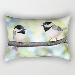 2 black-capped chickadees - bokeh Rectangular Pillow