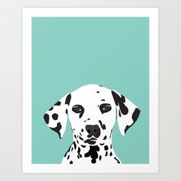 Dalmatian cute puppy dog black and white mint pastel gender neutral pet owner gifts love animals Art Print