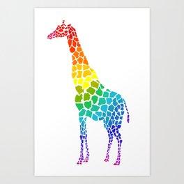 rainbow giraffe Art Print