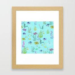 Seahorse Botanical Framed Art Print