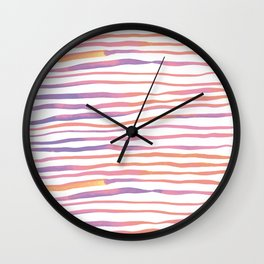Irregular watercolor lines - pastel pink and ultraviolet Wall Clock