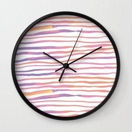 Irregular watercolor lines - pastel pink and ultraviolet Wall Clock