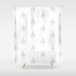Fingers crossed. Minimal hand line drawing Shower Curtain