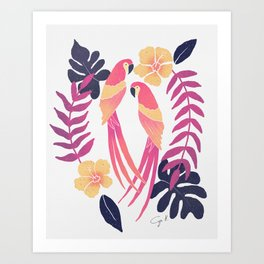 Tropical sunset parrots Art Print