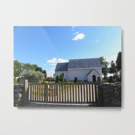 Little White Church in Denmark  Metal Print