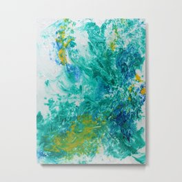 Spring Floral #6 - Blue, Emerald & Yellow Abstract Print Metal Print