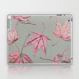 Japanese maple leaves - apricot on light khaki green Laptop & iPad Skin