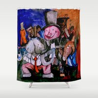 political Shower Curtains featuring Political Circus by eVol i