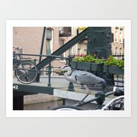 Crane on the Canal Art Print