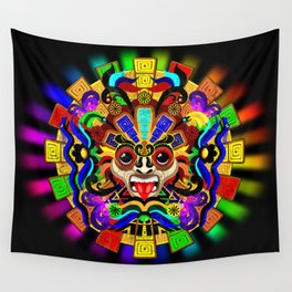 Aztec Warrior Mask Wall Tapestry