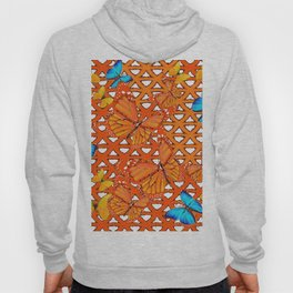 YELLOW BLUE ORANGE BUTTERFLY ABSTRACT WORLD Hoody