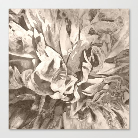 Painted Peony Sepia Cocoa Canvas Print