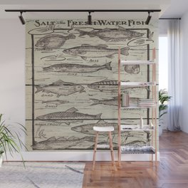 father's day fisherman gifts whitewashed wood lakehouse freshwater fish Wall Mural