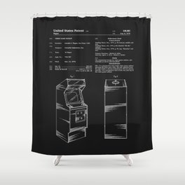 Arcade Game Patent - Black Shower Curtain