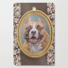 Old Gentleman. Amstaff Dog portrait in gold frame Cutting Board