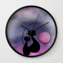 window curtains - mooncats love Wall Clock