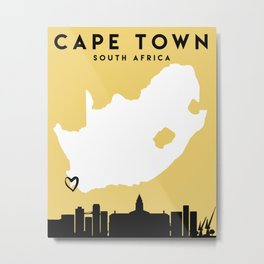 CAPE TOWN SOUTH AFRICA LOVE CITY SILHOUETTE SKYLINE ART Metal Print