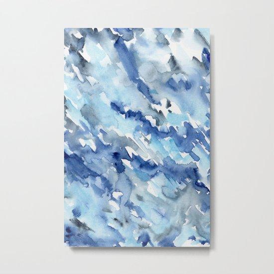 Watercolor madness in blue Metal Print