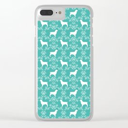 Boykin Spaniel silhouette floral dog breed pet pattern silhouettes of dogs blue Clear iPhone Case