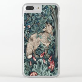 William Morris Forest Fox Tapestry Clear iPhone Case