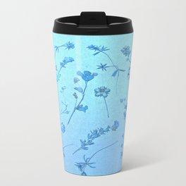 Vintage Blue Wildflowers Metal Travel Mug