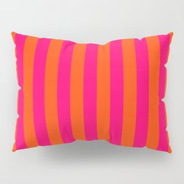 Super Bright Neon Pink and Orange Vertical Beach Hut Stripes Pillow Sham