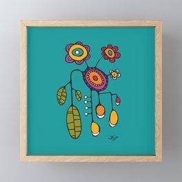 Flower Pot in Color on Teal Framed Mini Art Print