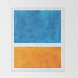 Colorful Jewel Tones Blue Gold Color Block Minimalist Watercolor Art Modern Simple Shapes Throw Blanket