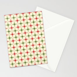 Midcentury Modern Atomic Age Christmas Starburst Pattern in Retro Xmas Red, Olive Green, and Cream Stationery Cards