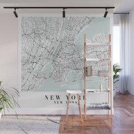 New York New York Blue Water Street Map Wall Mural