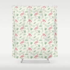 Flamingo Love Tropical Shower Curtain