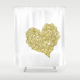 Gold butterflies in heart shape on white Shower Curtain