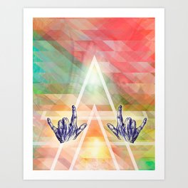 Dear rocking' hands - Music, body line art and color Art Print