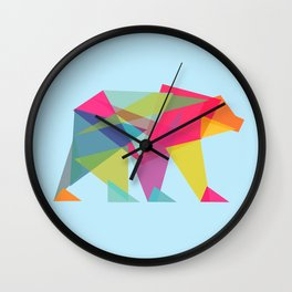 Fractal Bear - neon colorways Wall Clock