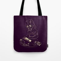 dark side Tote Bags featuring Dark Side by yortsiraulo