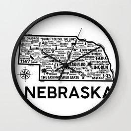 Nebraska Map Wall Clock