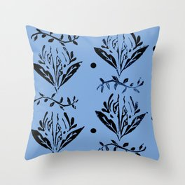 Cala Lily stamp pattern - in blue Throw Pillow