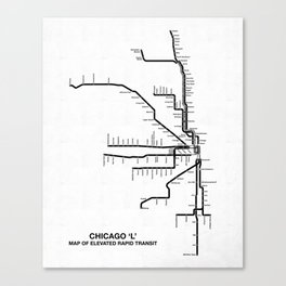 Chicago CTA Map, Chicago Map Art, CTA Art, Chicago Wall Art, Chicago Art, L Train, Art Print Canvas Print