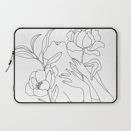 Minimal Line Art Woman with Peonies Laptop Sleeve