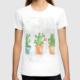Three Green Cacti Watercolor White T-shirt