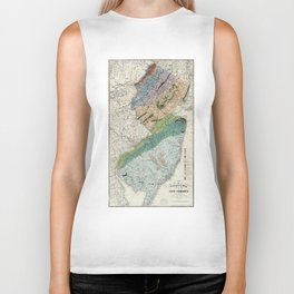 Vintage Geological Map of New Jersey (1839) Biker Tank