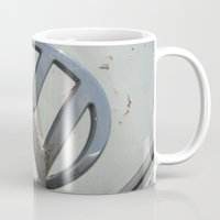 vw bus Mugs featuring Rusty VW Bus Symbol by wildVWflower