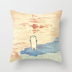 Bear on ice Throw Pillow