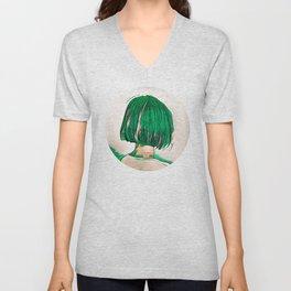 Green Hair Girl Unisex V-Neck