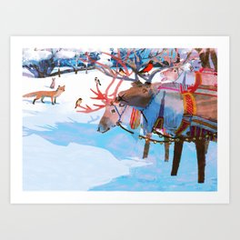 Reindeers and friends Art Print