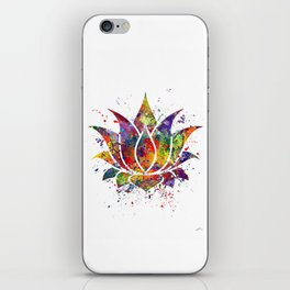 Lotus Flower 2 Watercolor Print Wall Art Wedding Gift Zen decor iPhone Skin