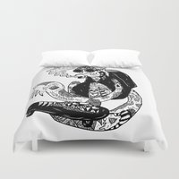 skate Duvet Covers featuring Flying skate by Yujhin