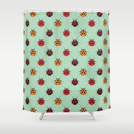 Lady Bug Green Shower Curtain