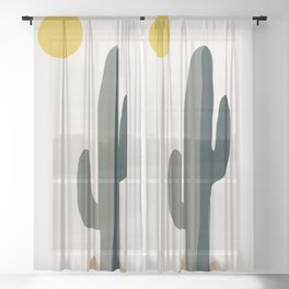 Cactus and the Rising Sun Sheer Curtain